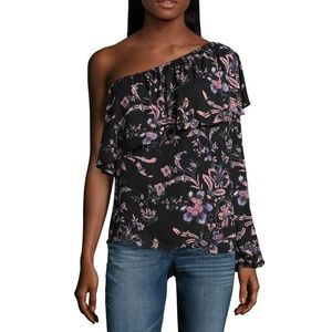 NWT Belle & Sky One Shoulder Floral Ruffle Blouse